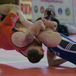 athletes wrestling